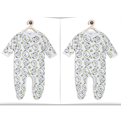 Berrytree Twin Baby Girl Set : Green Cat Romper-Berrytree