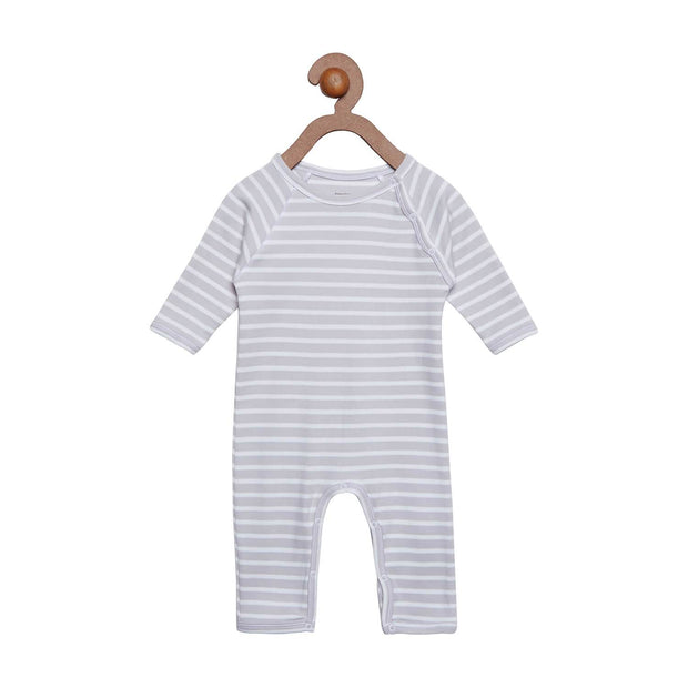 Berrytree Organic Cotton Baby Romper Grey Stripes BerryTree