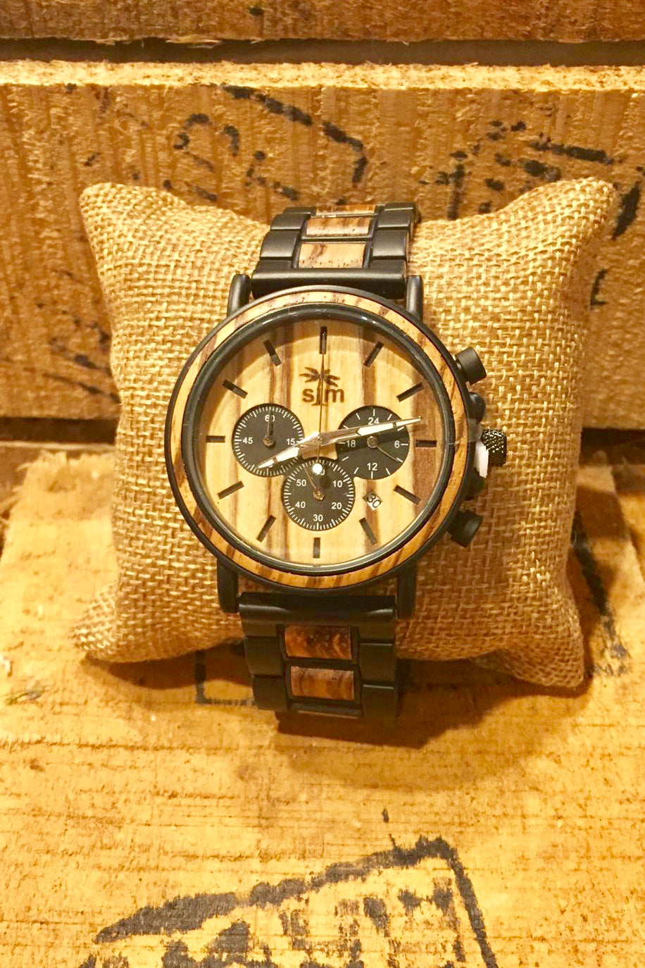 Watch Zebra Wood & Stainless Steel Chrono
