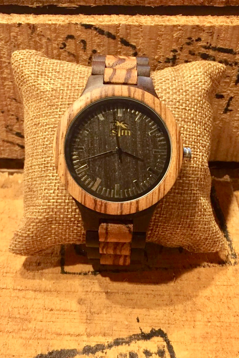 Watch Two Tone Zebrawood & Ebony Wood - Black Dial