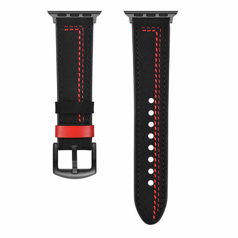 Venice Leather Apple Watch Band (Black/Red)