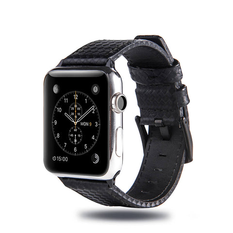 Carbon Fibre  Leather Apple Watch Band (Black)