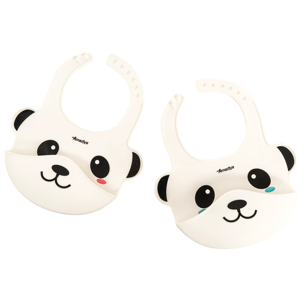 Silicone Baby Panda Bib Blue Eye Blush