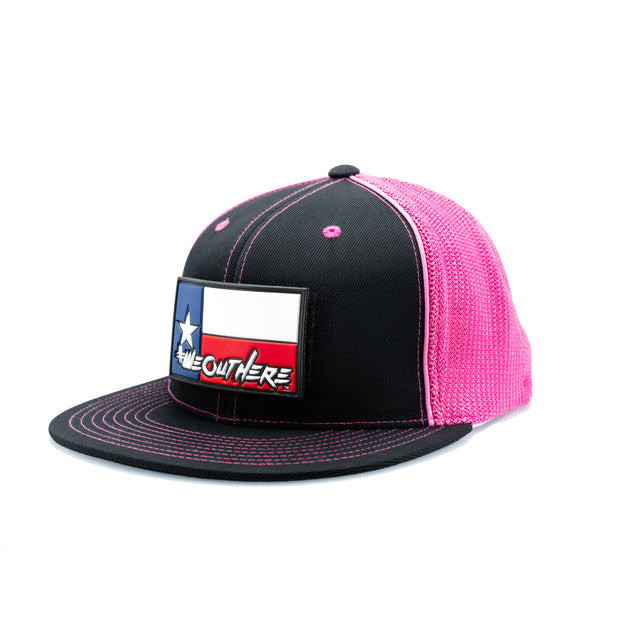 #WeOutHere™ TEXAS FLAG PATCH (Black/Pink) FLEX FIT HAT.jpg