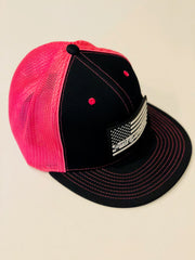 #WeOutHere™ AMERICAN BLACK FLAG PATCH (Black/Pink) FLEX FIT HAT