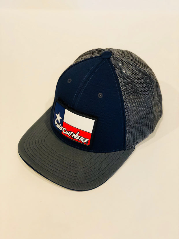 "#WeOutHere™ ""TEXAS FLAG"" (Blue/Gray)  FLEX FIT HAT - We Out Here"
