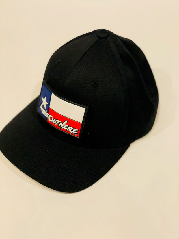 #WeOutHere™ TEXAS FLAG PATCH (Black) FLEX FIT HAT