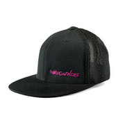 #WeOutHere™ (Black/Pink Logo) FLEX FIT HAT - We Out Here