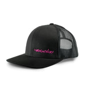 #WeOutHere™ (Black/Pink Logo) SNAP BACK HAT - We Out Here