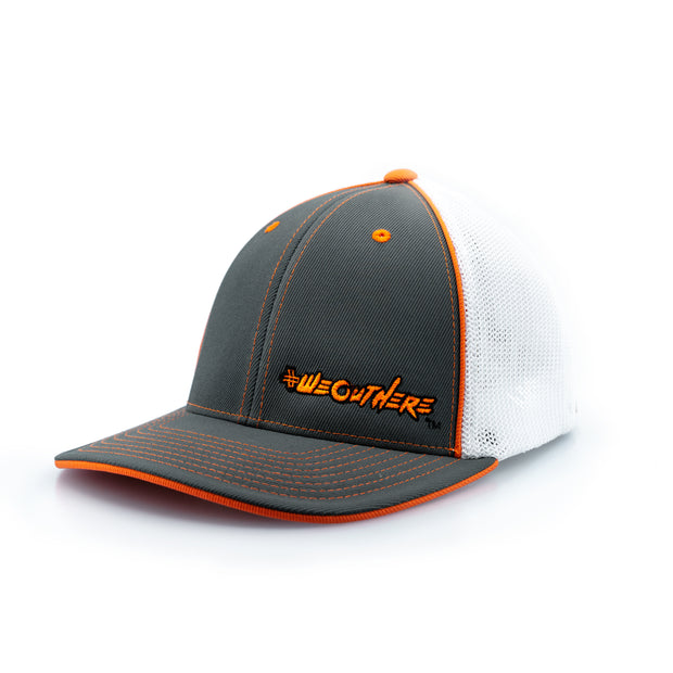 #WeOutHere™ (Gray/White/Orange Logo) FLEX FIT HAT - We Out Here