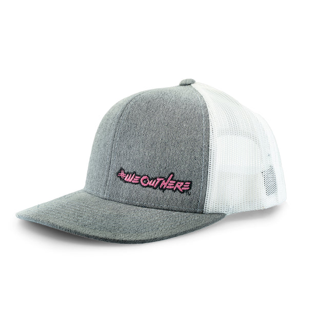 #WeOutHere™ (Heathered Gray/Pink Logo) SNAP BACK HAT - We Out Here