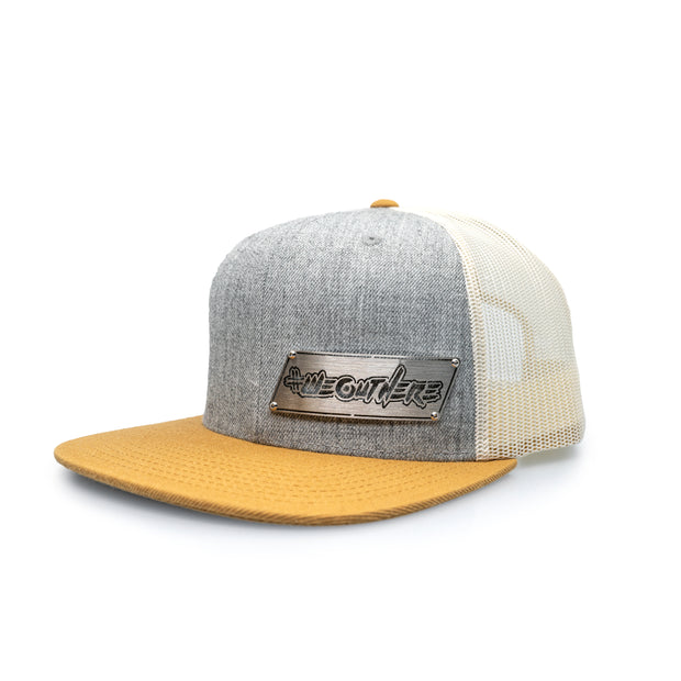 "#WeOutHere™ ""OUTLINE"" STAINLESS BILLET SNAPBACK (Gray/Birch) - We Out Here"