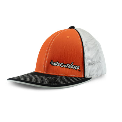 #WeOutHere™ (Orange/Black/White Logo) FLEX FIT HAT - We Out Here