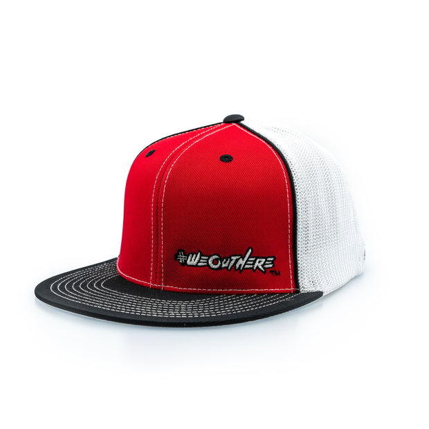#WeOutHere™ (Red/Black/White) FLEX FIT HAT - We Out Here