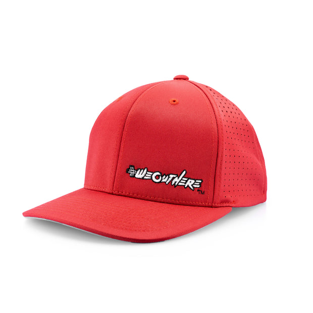#WeOutHere™ (Red/White Logo) PERFORMANCE FLEX FIT HAT - We Out Here