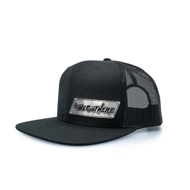 "#WeOutHere™ ""OUTLINE"" STAINLESS BILLET SNAPBACK (Black) - We Out Here"