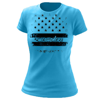 #WeOutHere™ PATRIOT T-SHIRT AQUA (Women's) - We Out Here