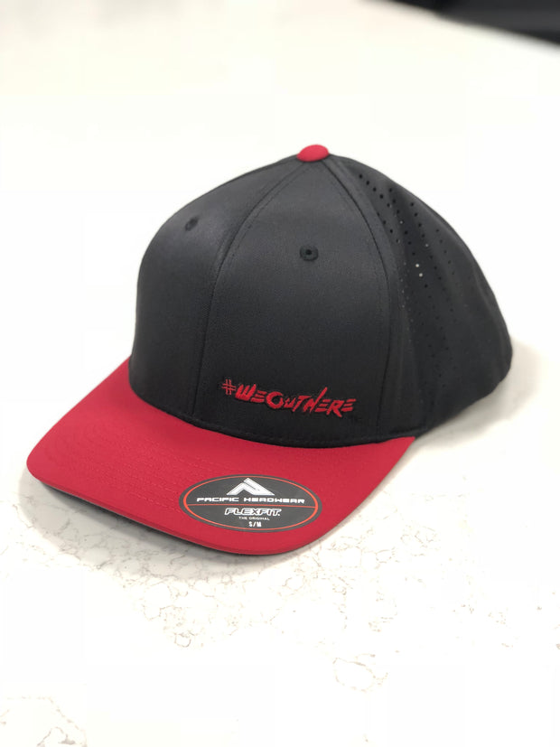 #WeOutHere™ (Black/Red) PERFORMANCE FLEX FIT HAT - We Out Here