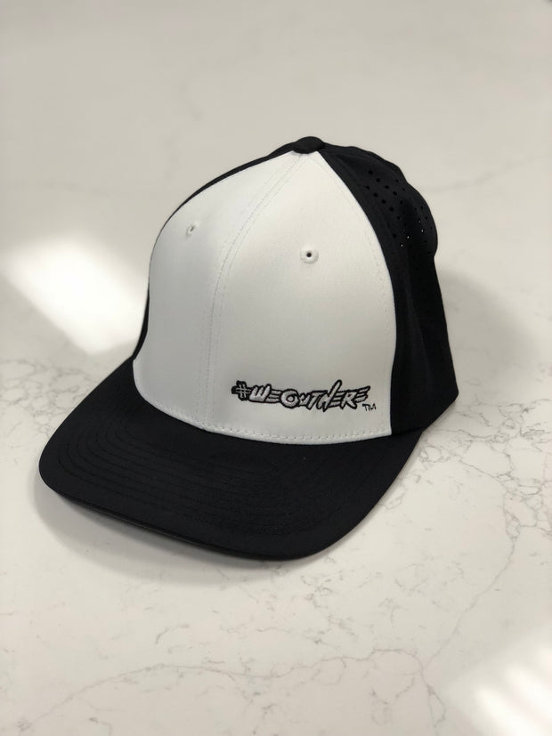 #WeOutHere™ (Black/White Logo) PERFORMANCE FLEX FIT HAT - We Out Here