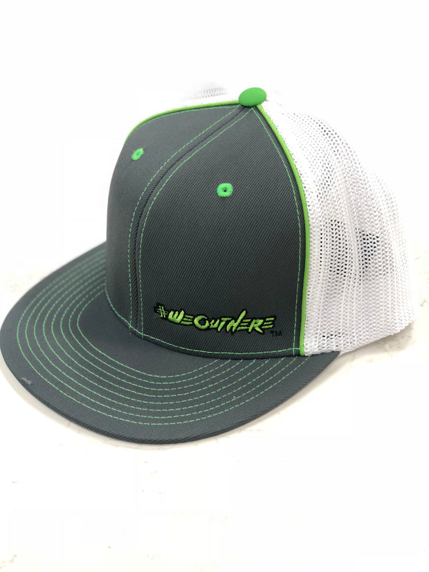 #WeOutHere™  (Gray/White/Green Logo) FLEX FIT HAT