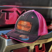 LIMITED  LIGHT ENGRAVED LEATHER LOGO FLEX FIT HAT (Black/Pink) - We Out Here