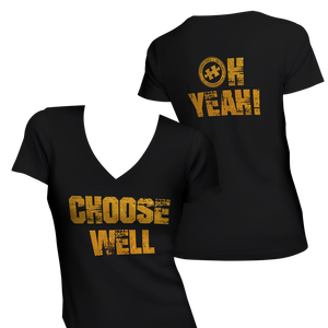 Choose Well... Oh Yeah V-Neck T-Shirt [BRIGHT GOLD]