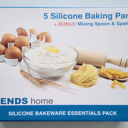 7 Pc Silicone Bakeware Set, 5 Baking Pans, 2 FREE Silicone Utensils. Non-Stick Silicone Baking Molds. Bakeware set has durability & strength reinforced stainless steel frame. ONE TIME ONLY OFFER.