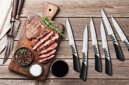 TRENDS 6 Pc Premium Steak Knife Set. Premium High Carbon Stainless Steel. These Steak Knives are Ultra-Sharp and Never Require Sharpening. Serrated Steak Knives Set of 6 Steak Knifes.