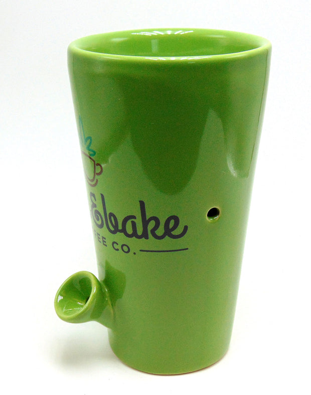 """Wake & Bake"" 8oz Ceramic Mug Pipe"