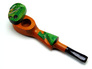 Sculpted Colored Mill Wooden Pipe W/ Lid