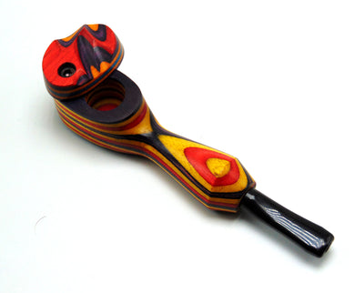 Full Colored Mill Wooden Pipe W/ Sculpted Lid