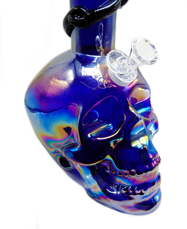 "15"" Skull Sculpted Soft Glass Tobacco Water Pipe"