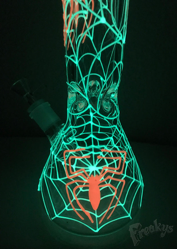"15"" Glow in the Dark Spider Web Tobacco Water Pipe"