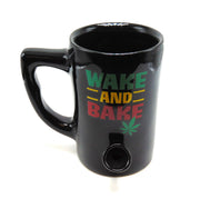 """Wake and Bake"" 8oz Ceramic Mug Pipe"