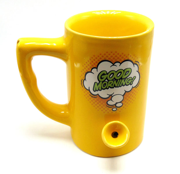 """Good Morning"" 8oz Ceramic Mug Pipe"