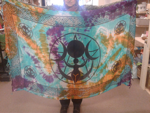 Goddess/Triple Moon Tie Dye Altar Cloth