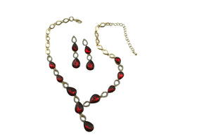 Statement Crystal Set - Necklace & Earrings - AZ0004 Red