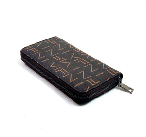 PU Leather Letter Print Purse  Zipped Wallet Card Phone Holder- Purse A0005 Coffee