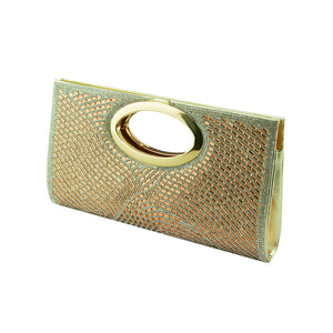 Ladies Multi-colour Diamante Clutch Bag Evening Bag - 096-901D Gold