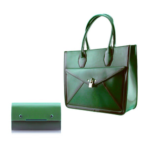 Stylish Woman Faux Leather 2-in-1 Handbag Shoulder Bag Crossbody Bag Purse Bag - 1986 Green