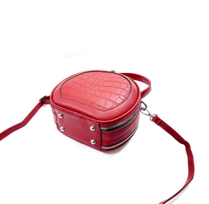 New Lady's Round Shape Shoulder Bag Cross body Messenger PU Leather Handbag Purse Red 999