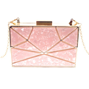Classic Rectangle Grab Clutch Shoulder Cross Body Bag  Vegan Resin Material - H90 Champaign
