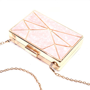 Classic Rectangle Grab Clutch Shoulder Cross Body Bag  Vegan Resin Material - H90 Pink