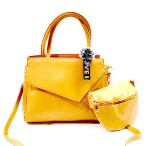 Womens 2pieces  2 Faced 2 Straps Tote Handbag Shoulder Cross Body Bag Grab Purse Vegan PU Leather Fashion Bag J13 Yellow