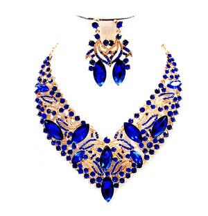 Costume 2 pieces of  Necklace Bracelet Earrings Ring Jewellery Set - NBE 27 blue