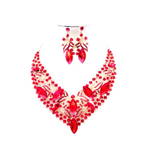 Costume 2 pieces of  Necklace Bracelet Earrings Ring Jewellery Set - NBE 27 Red