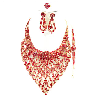 Costume 4 pieces of  Necklace Bracelet Earrings Ring Jewellery Set - NBE 25 Red