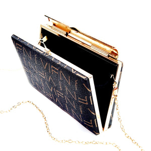 New Letter Print Grab Clutch Shoulder Cross Body Crystal Clasp Bag Vegan PU Material - H93-1 Coffee
