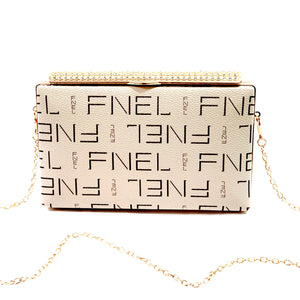 New Letter Print Grab Clutch Shoulder Cross Body Crystal Clasp Bag Vegan PU Material - H93-1 Apricot
