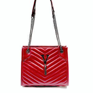 Stylish Womens Quilted Tote  Shoulder Cross body Bag  Vegan PU Leather Fashion Red 8063